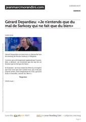 gerard depardieu je n entends que du mal de sarkozy qui ne fait que du bien