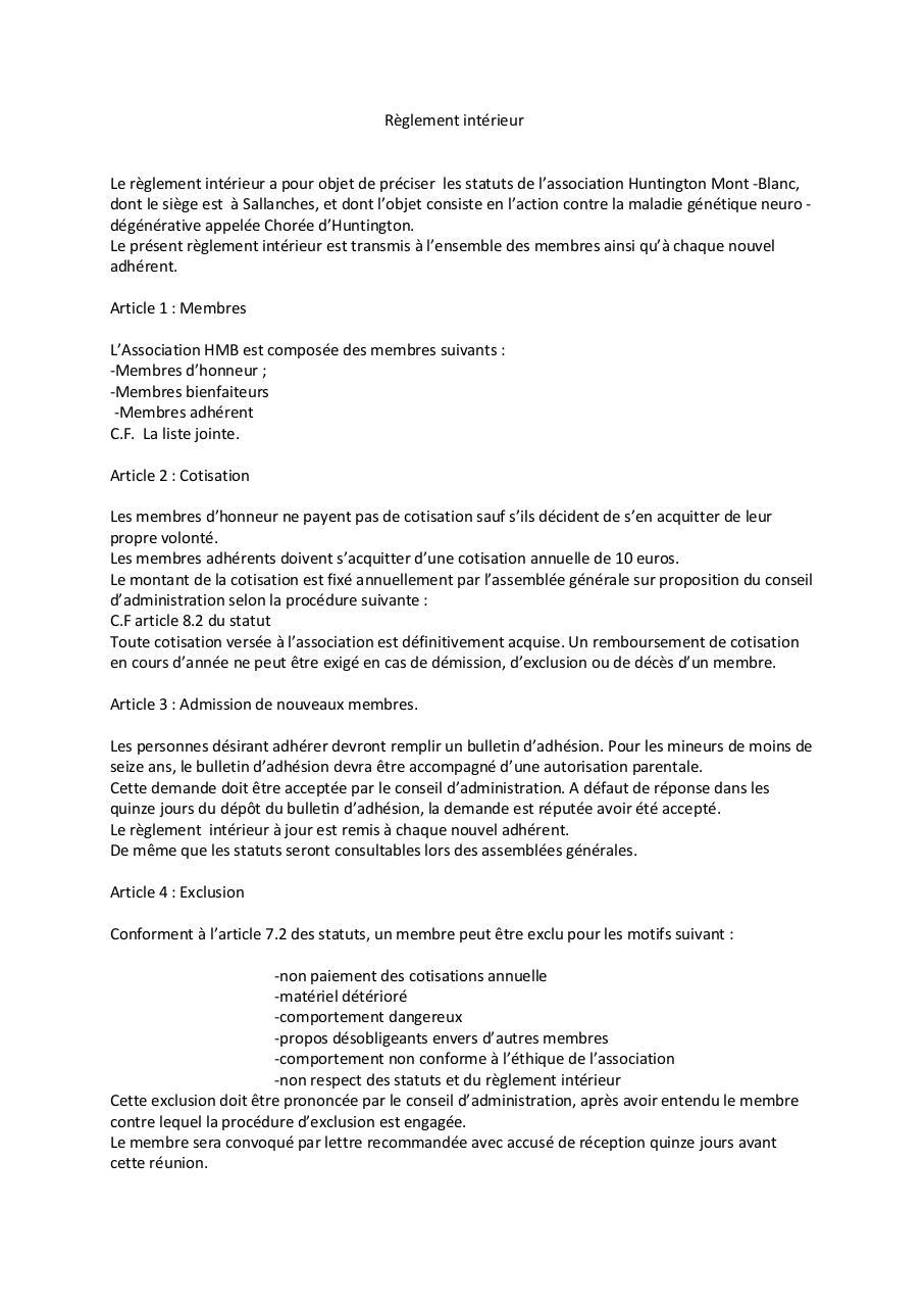 Aper u du fichier r glement int page 1 3 for Reglement interieur association pdf