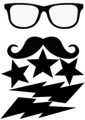 lunettes moustache etoiles et eclairs
