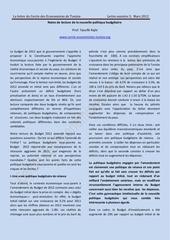 une lecture critique de la nouvelle politique budgetaire pdf