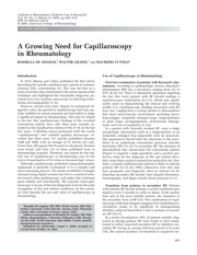 a growing need for capillaroscopy