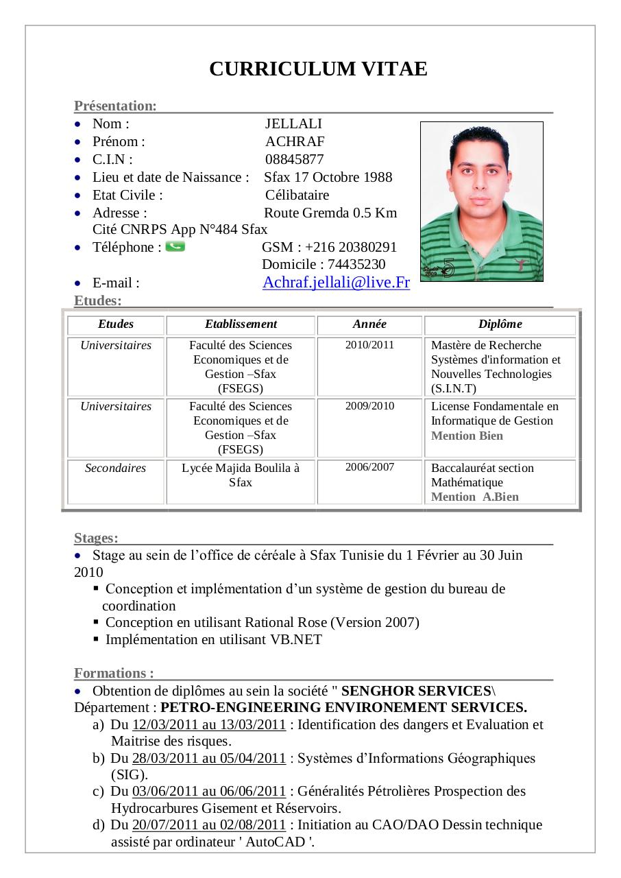 curriculum vitae par achraf - cv achraf jalleli pdf