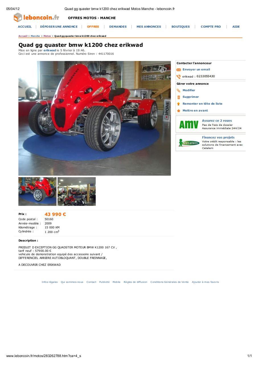 quad gg quaster bmw k1200 chez erikwad motos manche