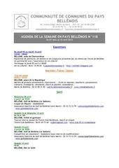 agenda de la semaine en pays bellemois n 118