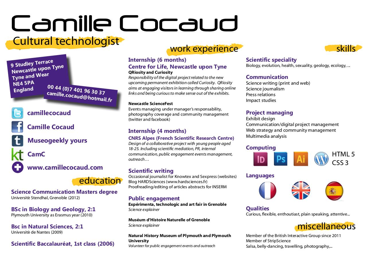 cv camille cocaud english