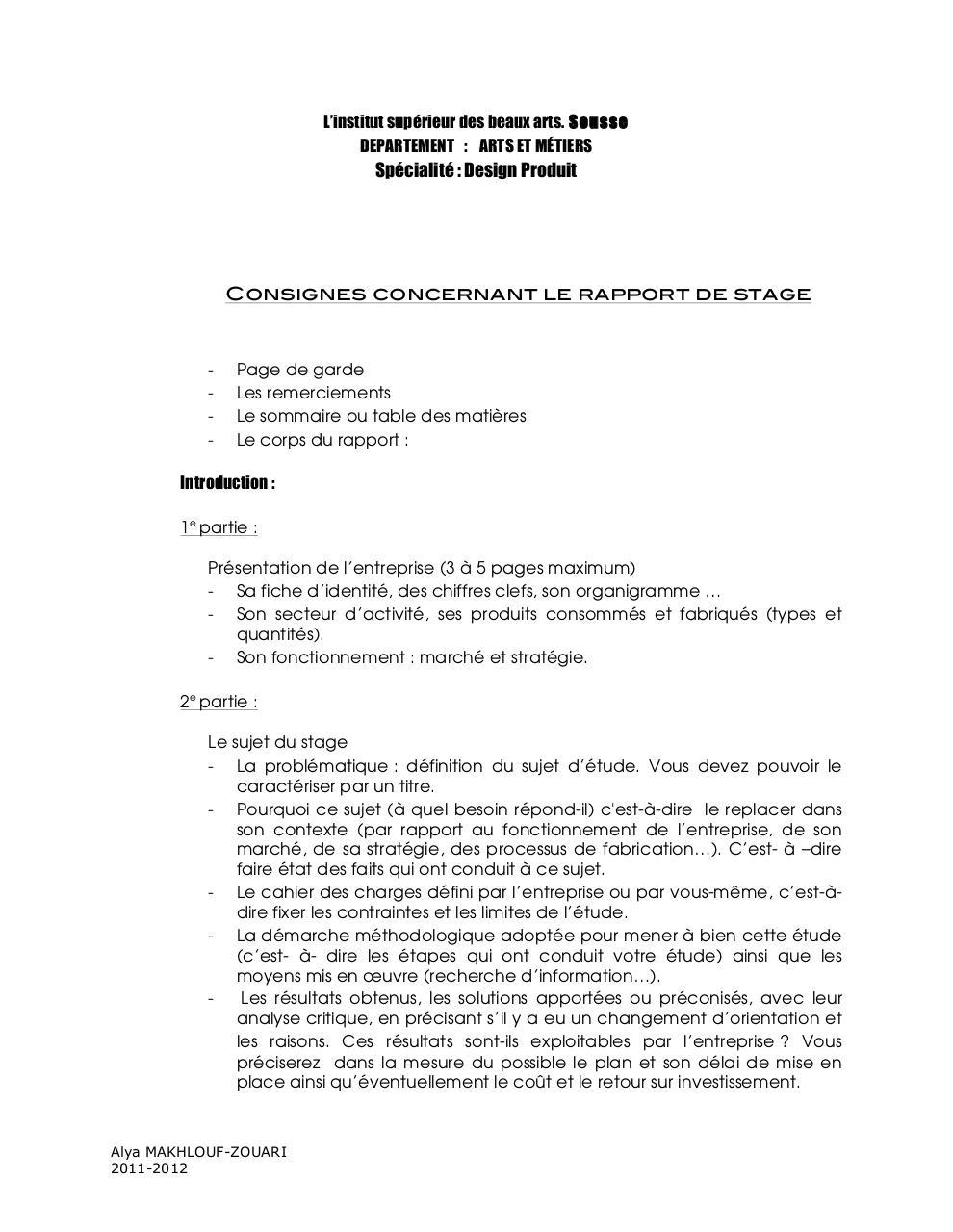 Rapport De Stage 2012 Docx Rapport De Stage 2012 Pdf
