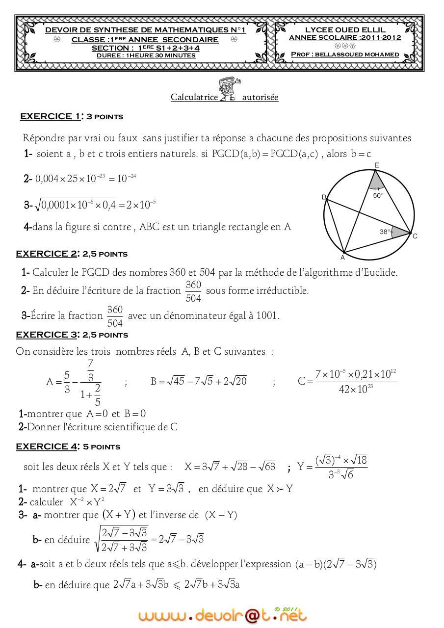 Aperçu du fichier Devoir+Corrigé+de+Synthèse+N°1+-+Math+-+1ère+AS++(2011-2012)+Mr+BELLASSOUED ...