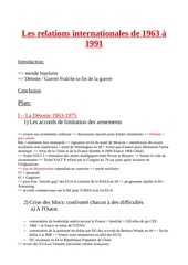 les relations internationales de 1963 a 1991