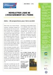 newsletter 12 avril 2012