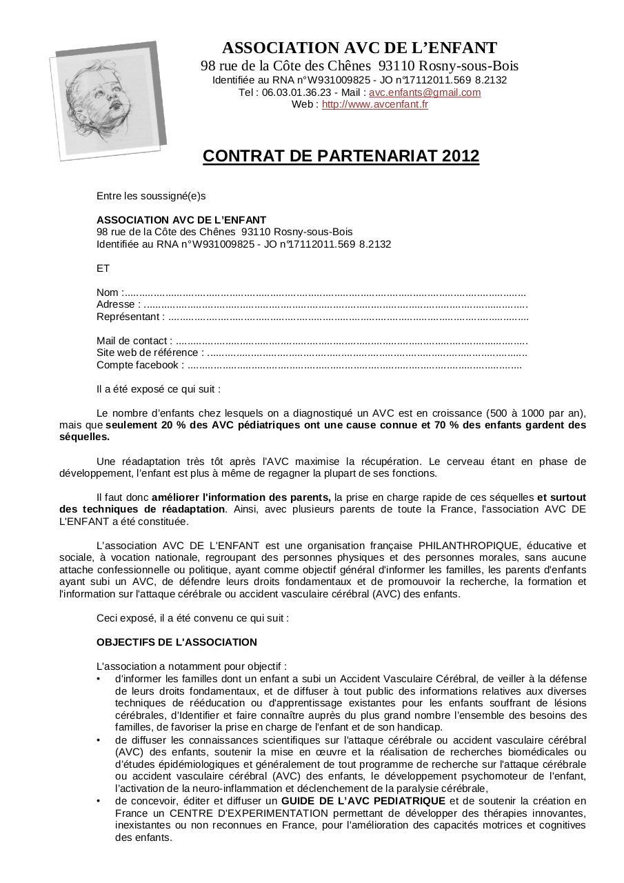 exemple contrat de partenariat simple pdf