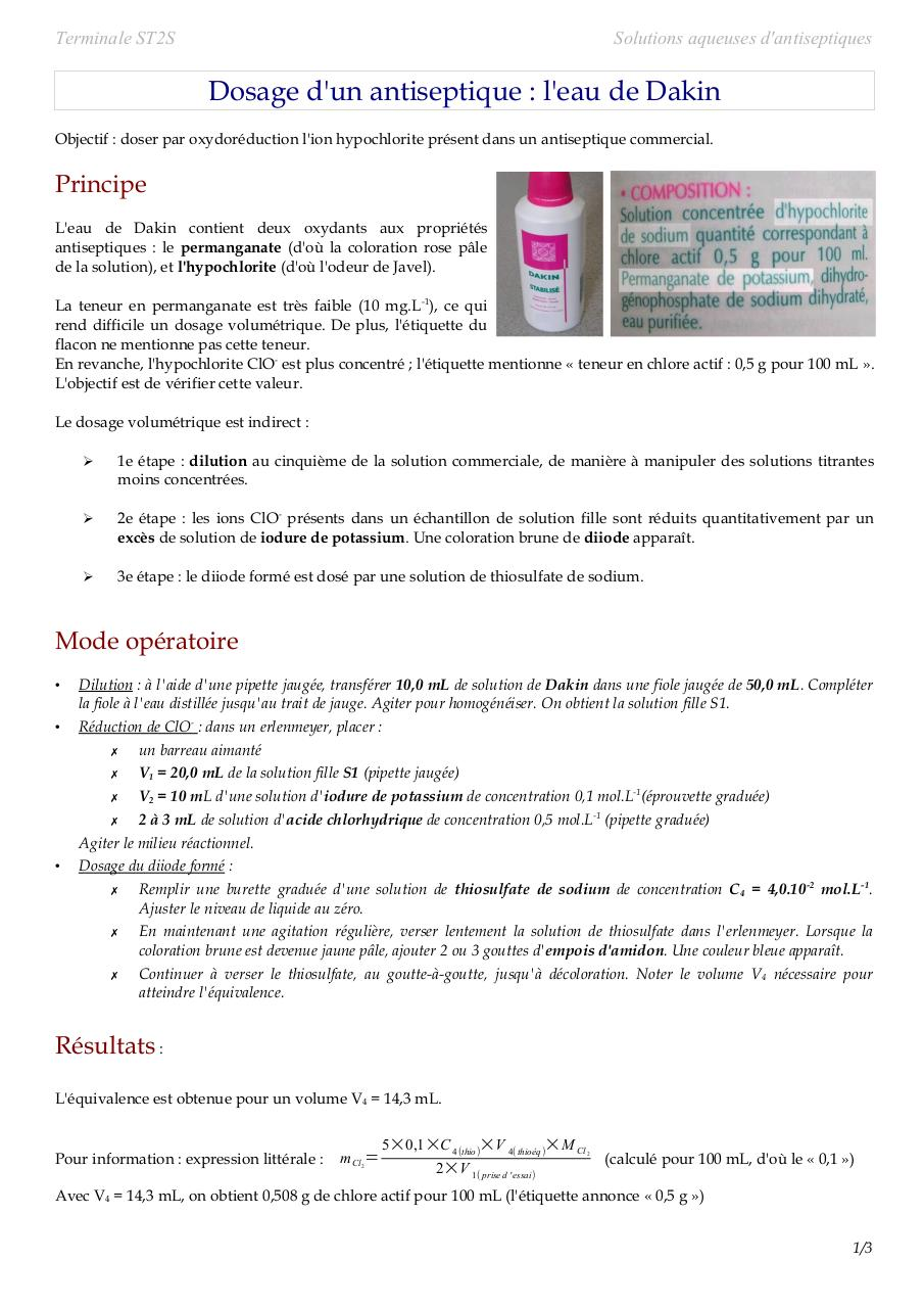 Aperçu du document Argent Colloidale DOSAGE DAKIN.pdf - page 1/3