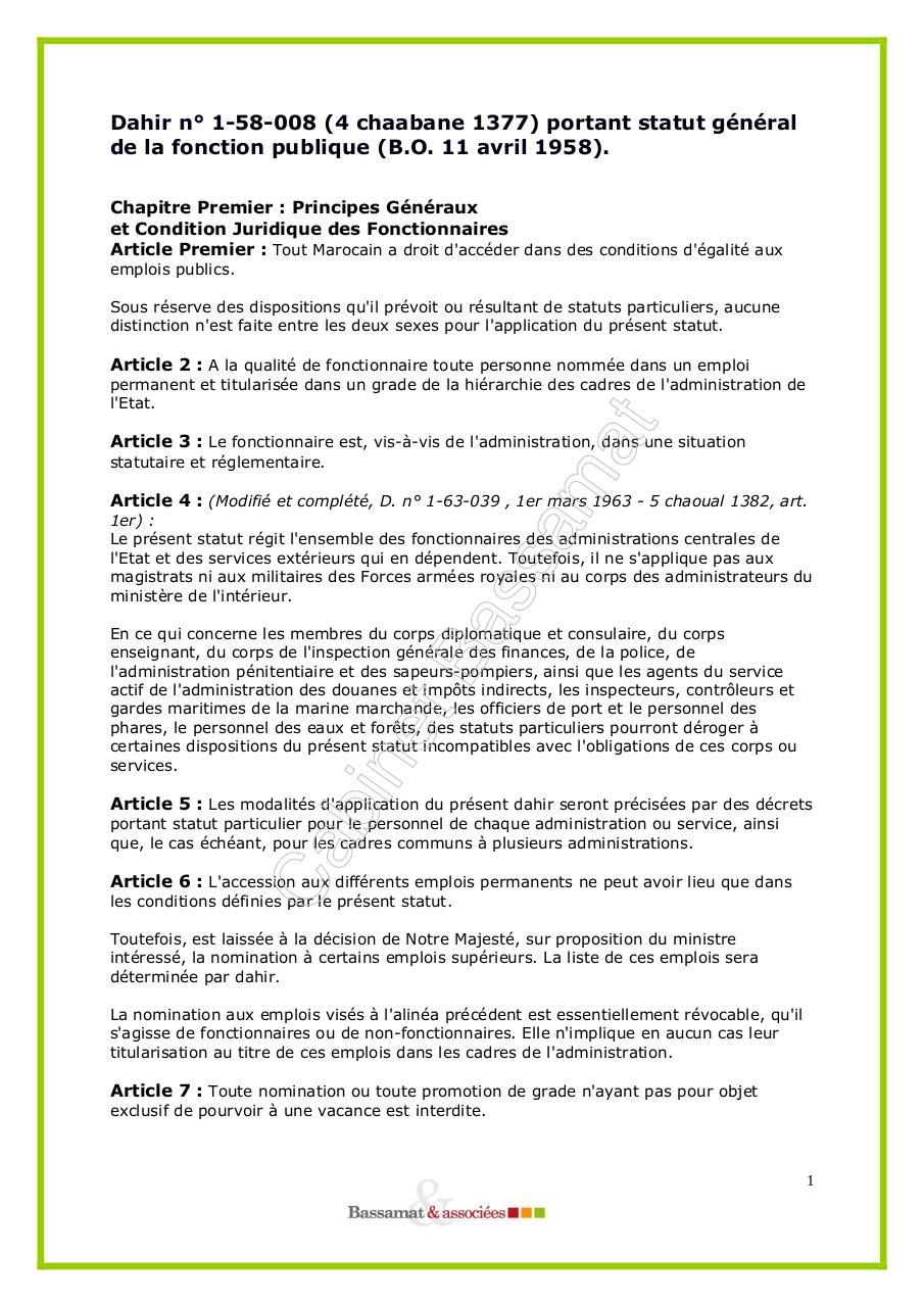 Dahir N 1 58 008 4 Chaabane 1377 Portant Statut General De La
