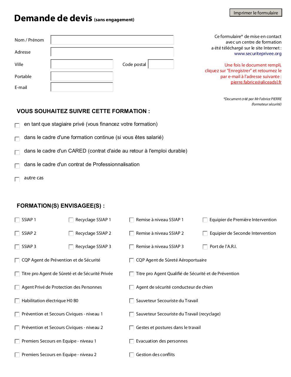 Formulaire de demande de devis formation fichier pdf for Demande de devis