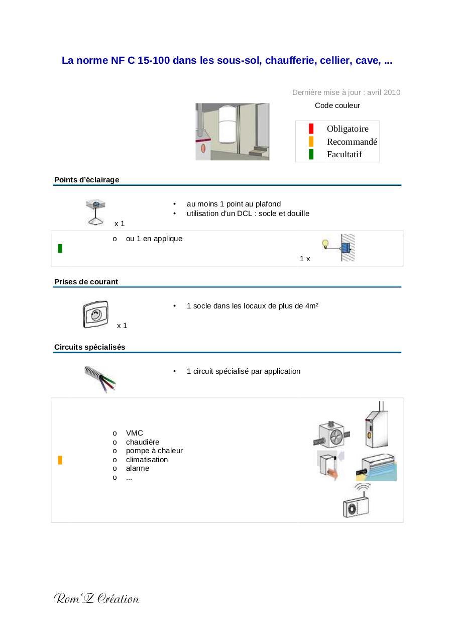 la norme nf c 15 100 dans les sous sol chaufferie cellier cave par sylvant fichier pdf. Black Bedroom Furniture Sets. Home Design Ideas