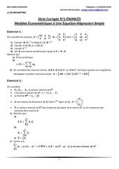 Fichier PDF l3 EconomEtrie serie corrigee n 1 modeles Econometriques a une Equation regression simple