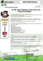 communique de presse tac sport events en force au rallye de dieppe 2012 2