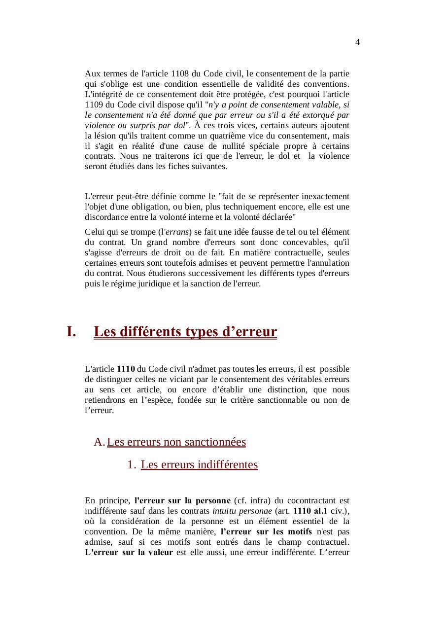 les vices du consentement  l u0026 39 erreur doc - les vices du consentement l erreur pdf