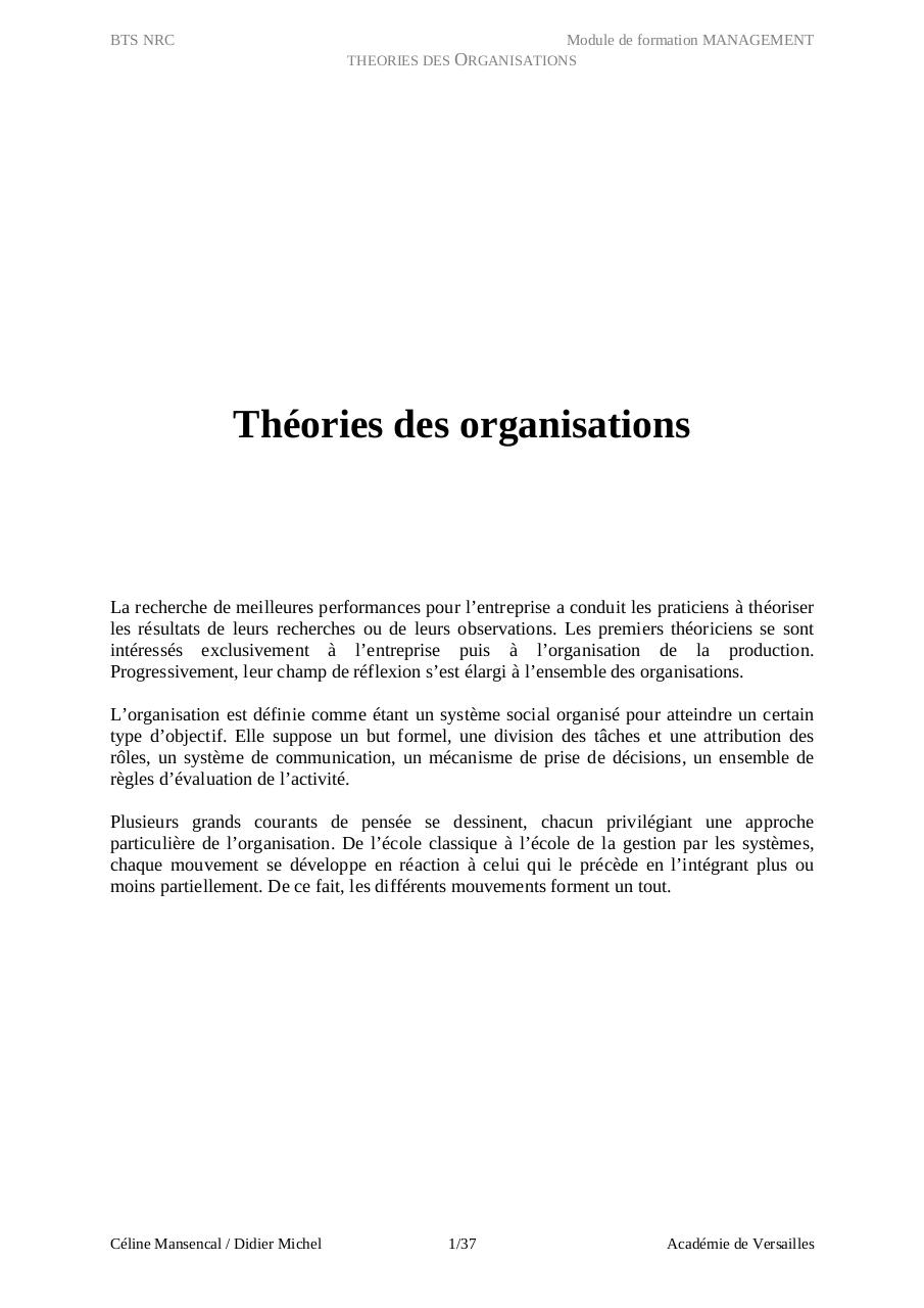 Aperçu du document Thories des organisations.pdf - page 1/37