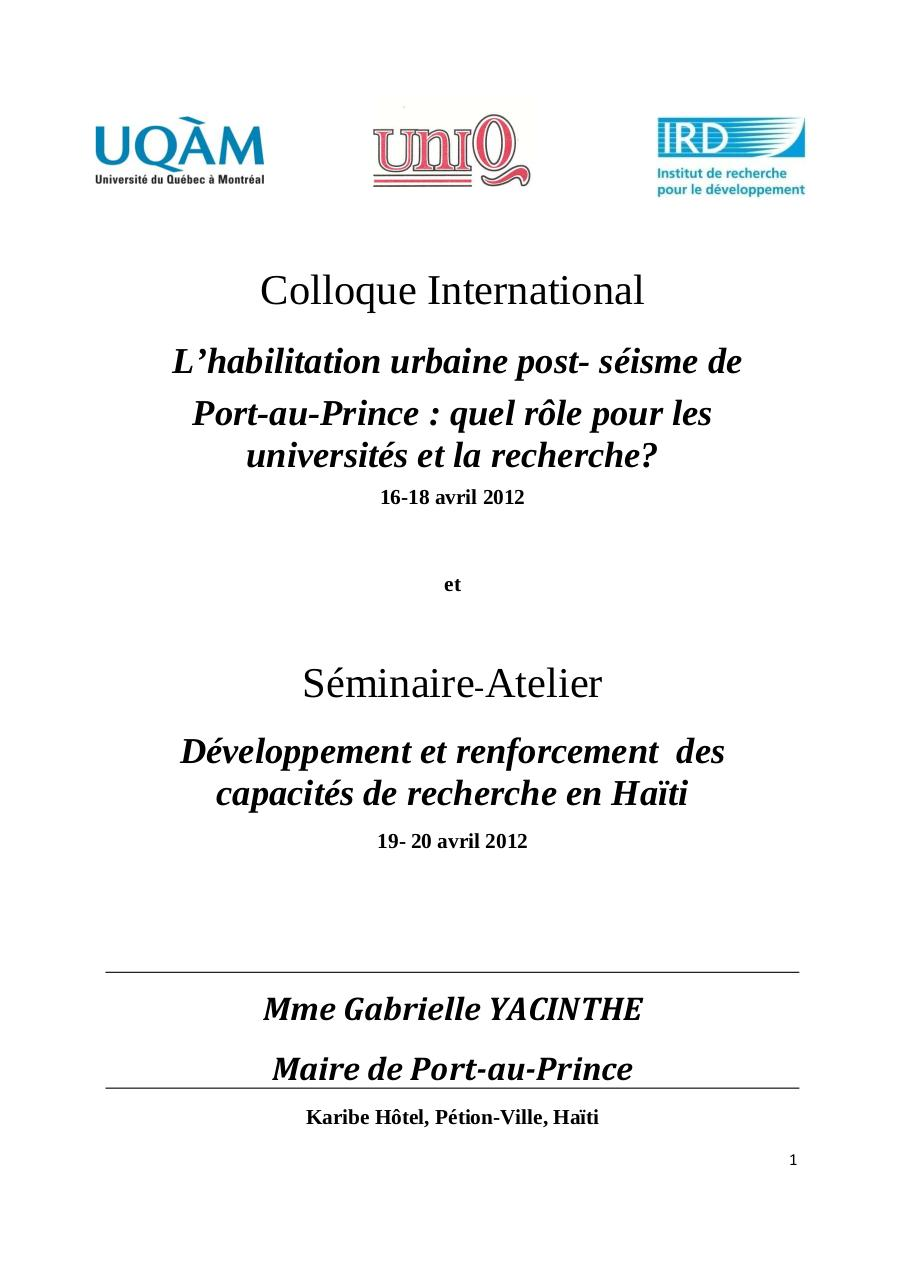 Allocution de Madame le Maire de Port-au-Prince Colloque International Habilitation Urbaine.pdf - page 1/6