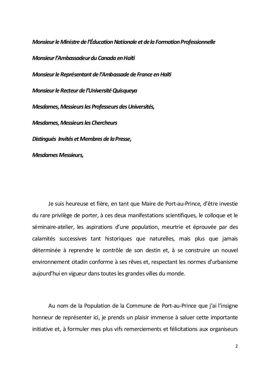 Allocution de Madame le Maire de Port-au-Prince Colloque International Habilitation Urbaine.pdf - page 2/6