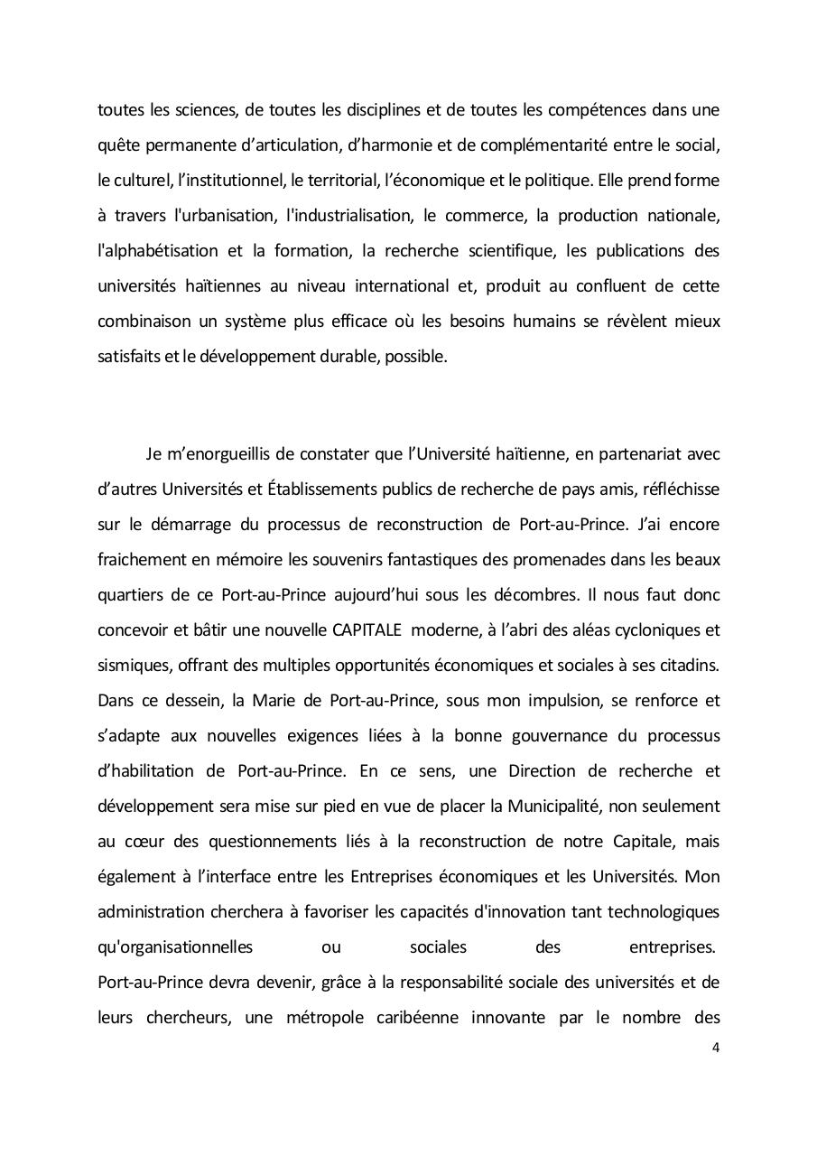 Allocution de Madame le Maire de Port-au-Prince Colloque International Habilitation Urbaine.pdf - page 4/6