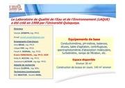laboratoire de qualite de l eau et de l environnement laque universite quisqueya