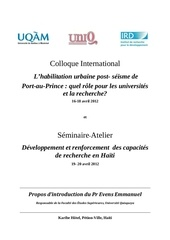 propos d introduction du pr evens emmanuel colloque international habilitation urbaine de port au prince