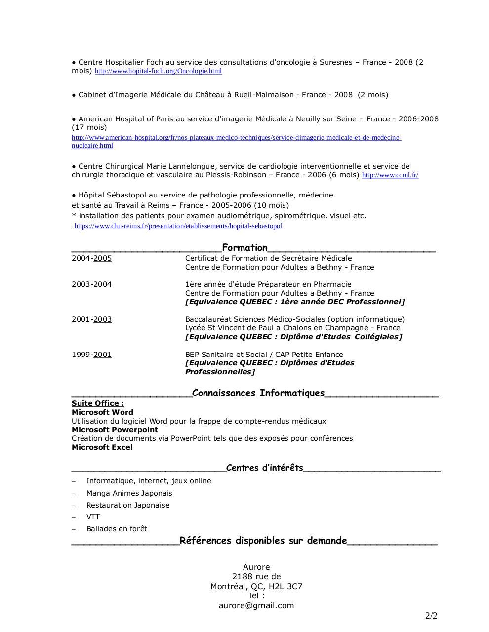 cv secr u00e9taire m u00e9dicale aurore pdf pvtistes par aurore
