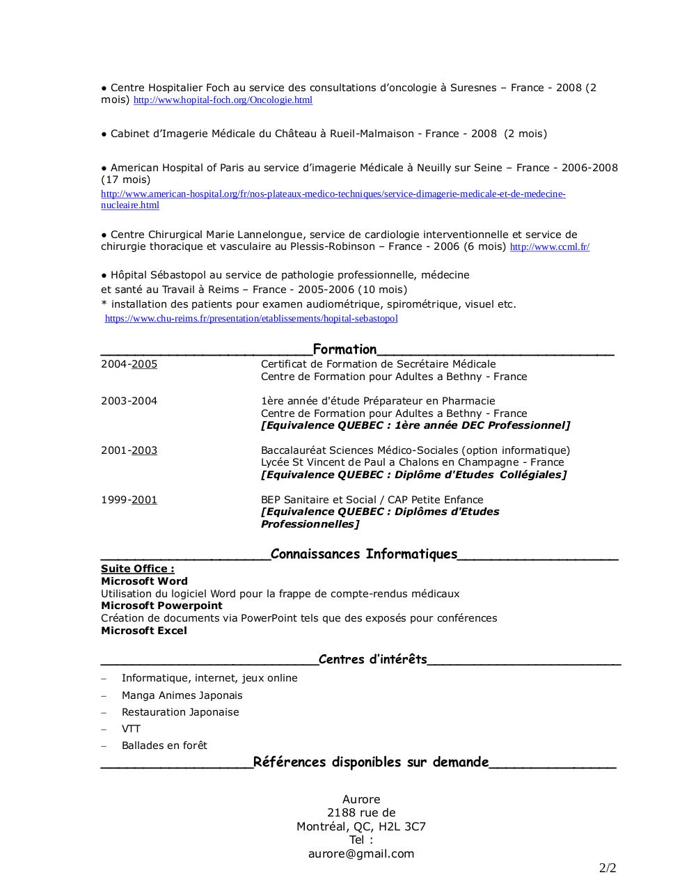 CV Secrétaire Médicale Aurore PDF PVTISTES.pdf par Aurore ...