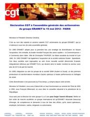 Fichier PDF declaration ds cgt eramet assemblee generale actionnaires eramet 15 mai 2012 paris