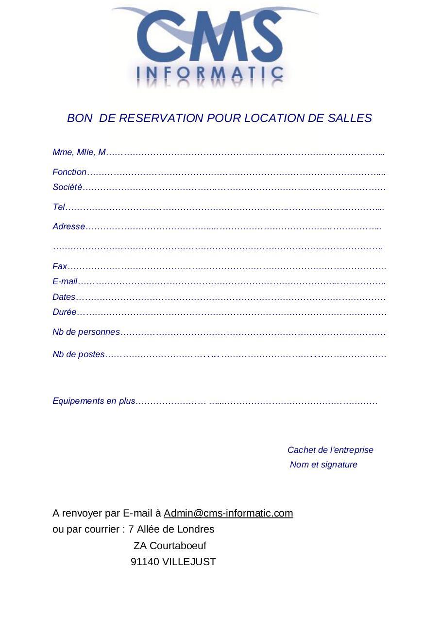 Bon De Reservation Pour Location De Salles Par Cms Informatic
