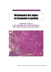 dictionnaire des sigles en economie et g