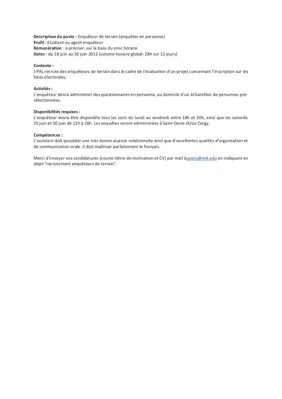 Description Du Poste J Pal Enquete Par Polepro Fichier Pdf