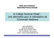 le college doctoral d haeti in haeti des initiatives