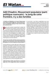 Fichier PDF www elwatan com adil chiadmi mouvement populaire parti politique marocain le long de cette frontiere il y a des familles