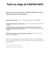 tarifs au siege de fabtho info