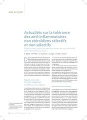 actualites sur la tolerance des ains selectifs et non selectifs