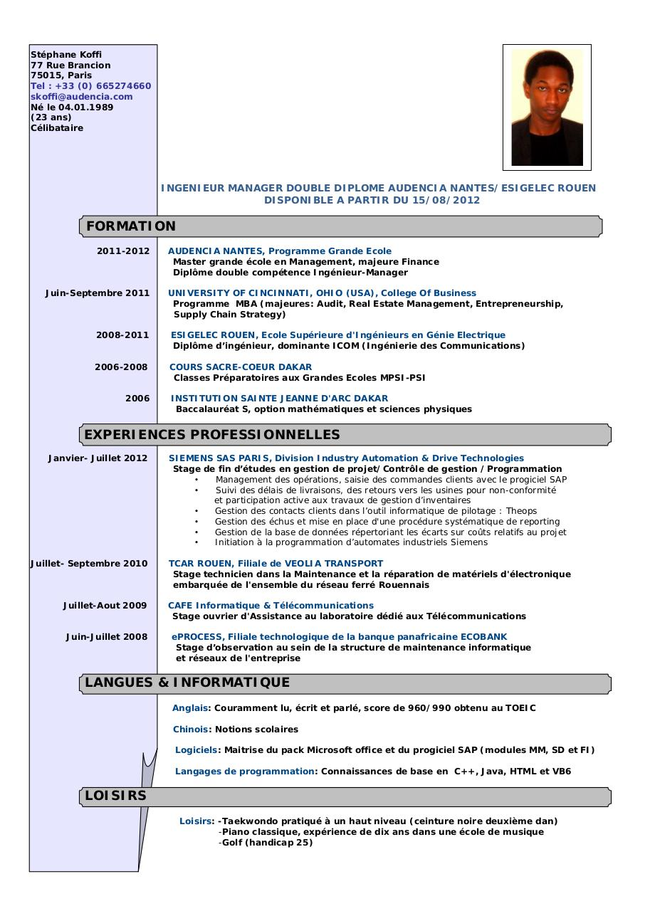 exemple cv technicien de maintenance industrielle