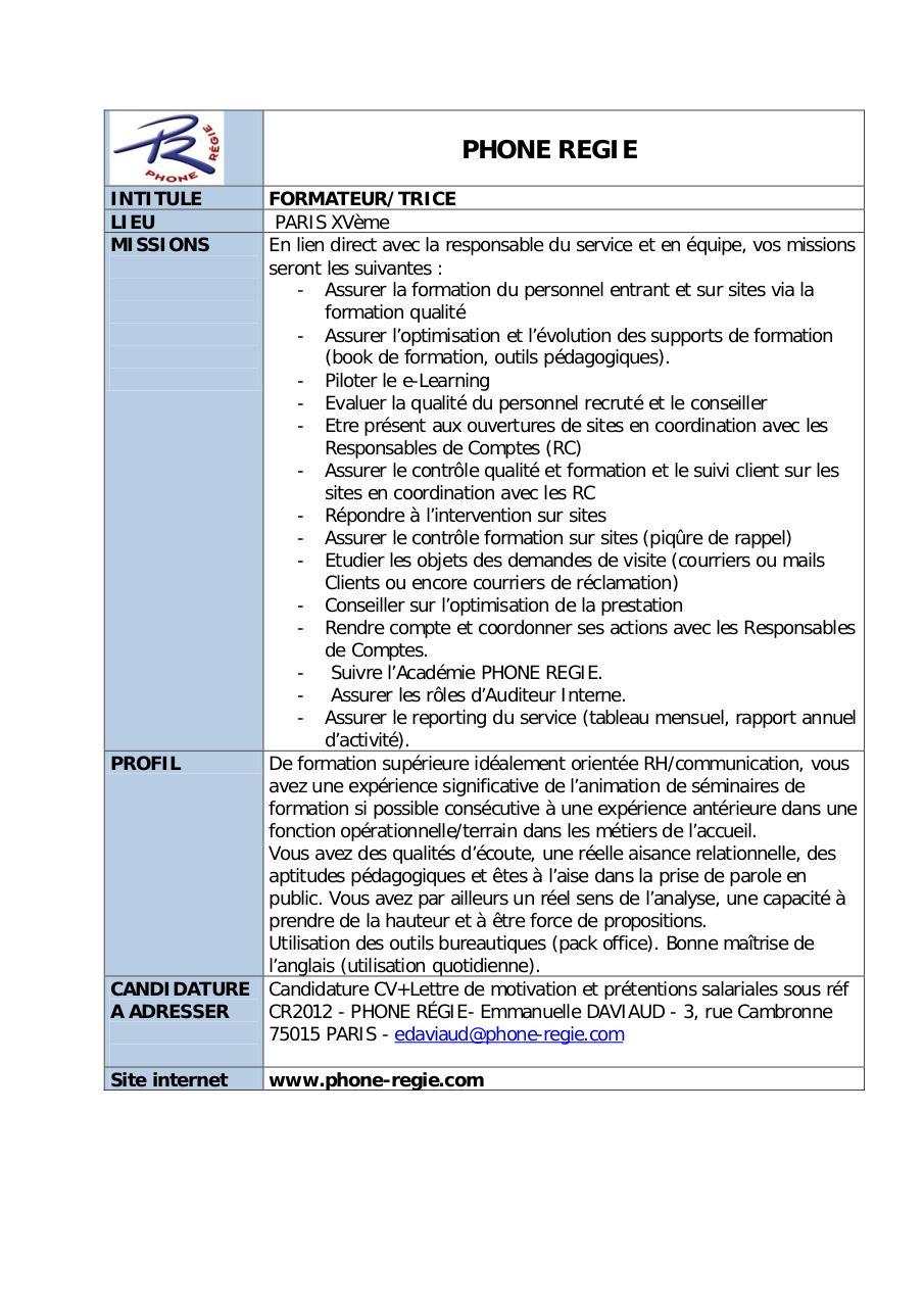 resume format  cv enseignant formateur