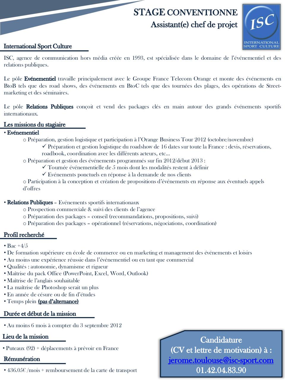 Diapositive 1 Stage Assistant Chef De Projet Evenementiel