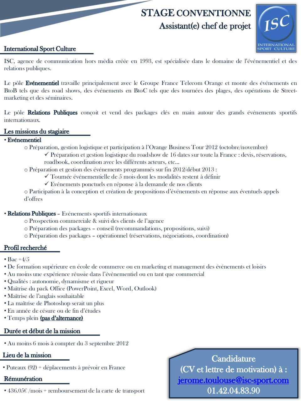 diapositive 1 - stage assistant chef de projet  u00e9v u00e9nementiel septembre 2012 pdf
