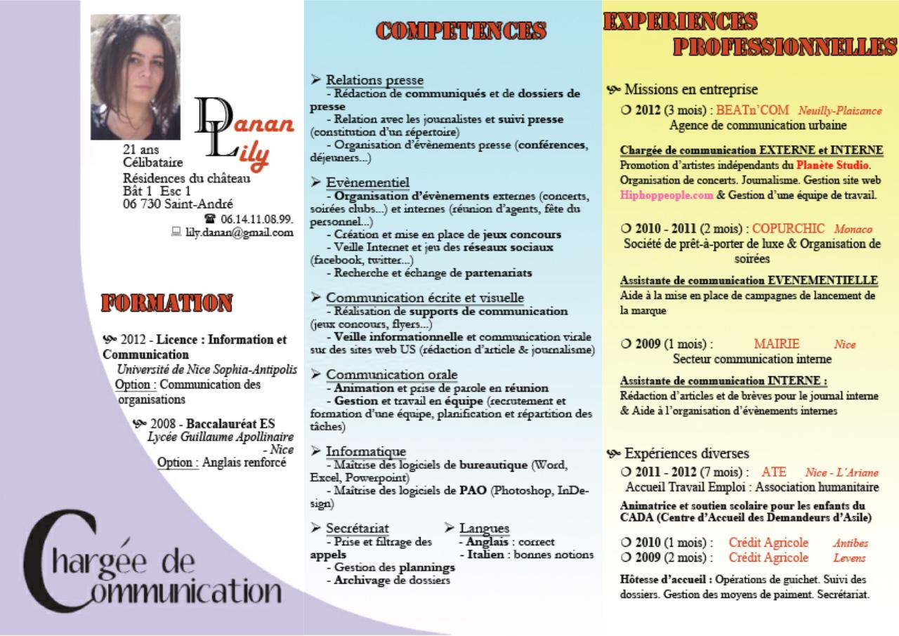 cv danan lily charg u00e9e de communication