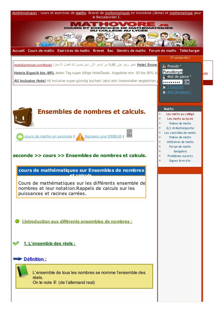 Www Mathovore Fr Ensembles De Nombres Et Calculs Cours Maths 48 Fichier Pdf