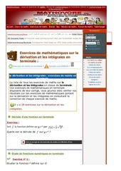 www mathovore fr la derivation et les integrales exercices mathematiques terminale 3