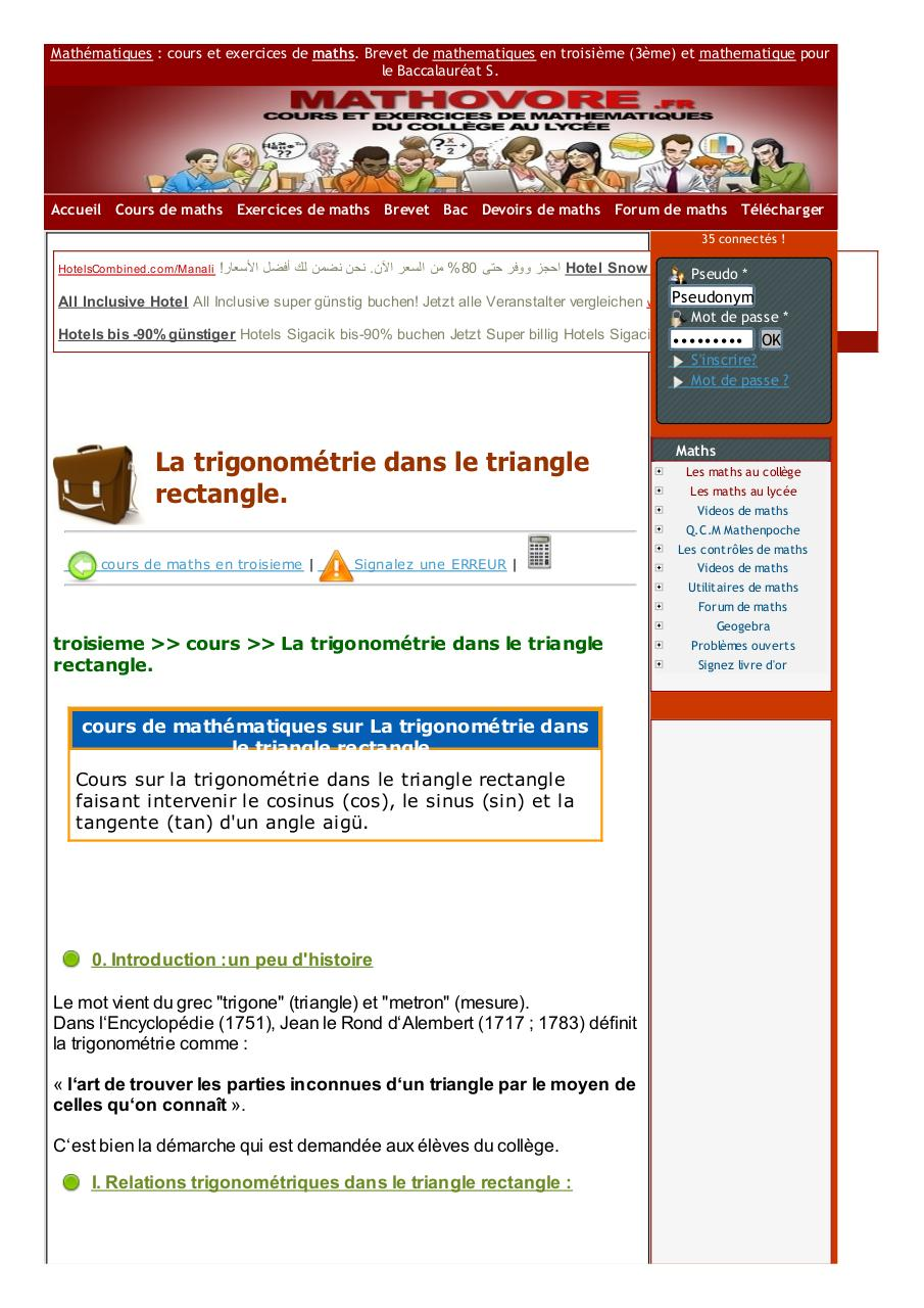 www.mathovore.fr-la-trigonometrie-dans-le-triangle-rectangle-cours-maths-32.pdf - page 1/5
