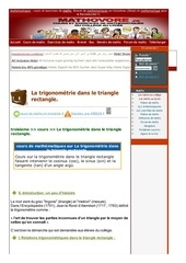 www mathovore fr la trigonometrie dans le triangle rectangle cours maths 32