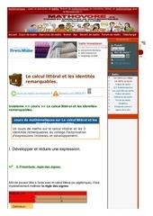 www mathovore fr le calcul litteral et les identites remarquables cours maths 25