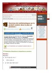 www mathovore fr le produit scalaire dans le plan exercices mathematiques premiere 3