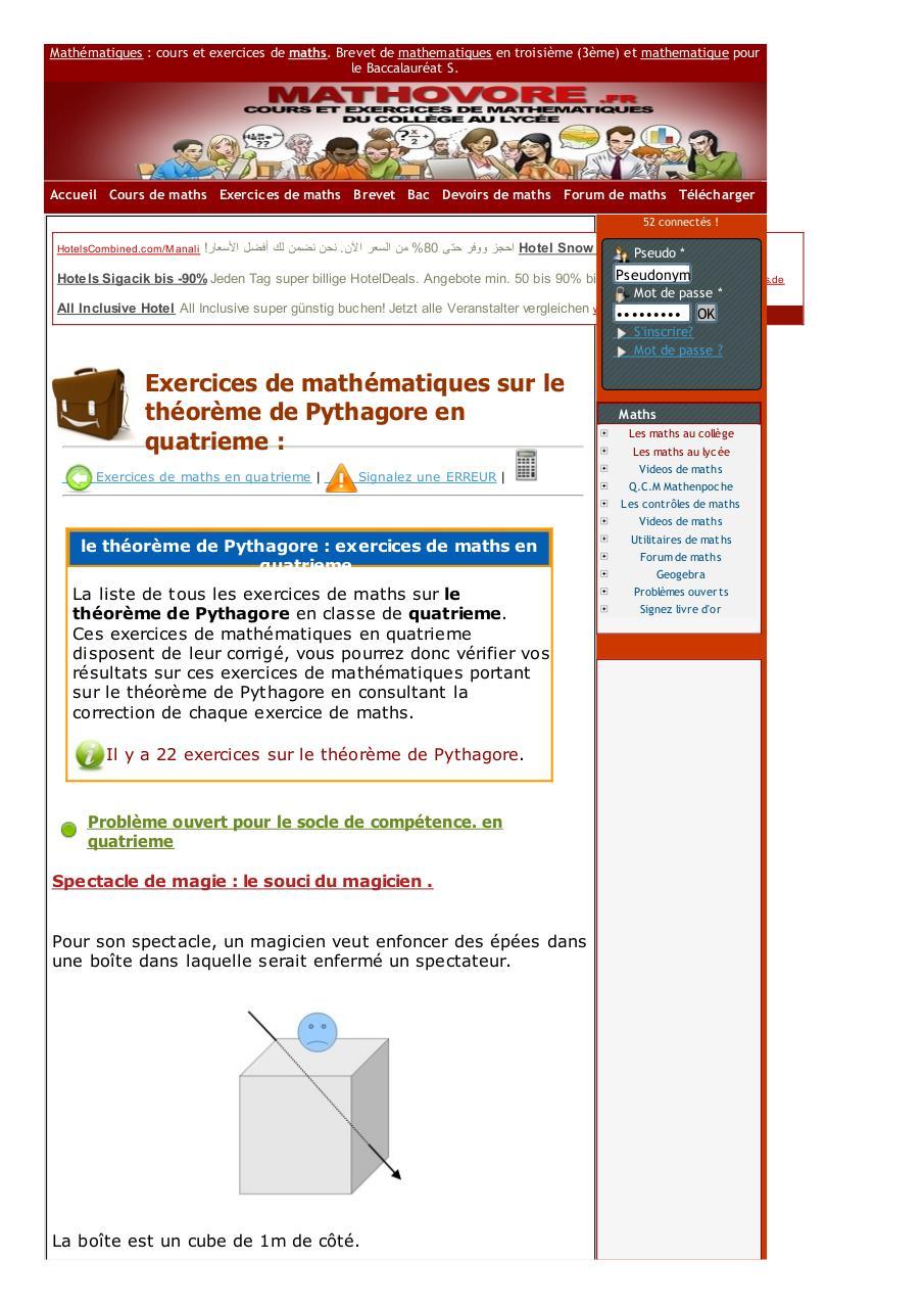 Www Mathovore Fr Le Theoreme De Pythagore Exercices Mathematiques Quatrieme 2 Fichier Pdf