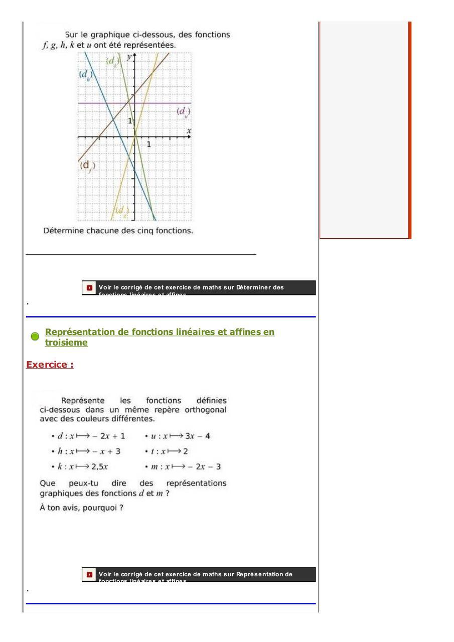 les fonctions affines : exercices de mathématiques ...